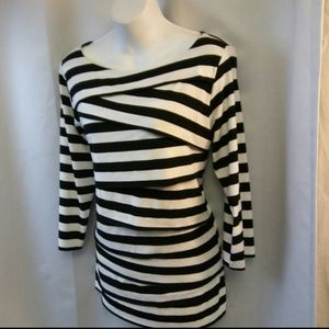 George Black and White Striped Blouse, 1X